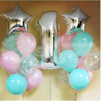 Композиция из шаров на 1 год. «Бирюзовые и розовые шары»